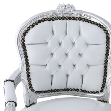 Snow White Leatherette Children Armchair Silver Wood – image 5