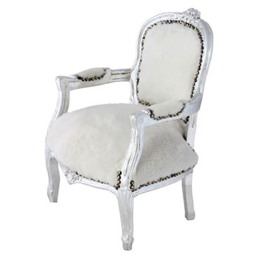 Classy Armchair for Kids White Velvet Silver Hand Carved Real Wood Frame – image 2