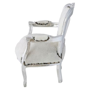 Classy Armchair for Kids White Velvet Silver Hand Carved Real Wood Frame – image 3