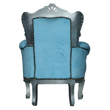 Fun Bright Blue Throne Chair for Children Baroque Silver Wood Frame Playroom – image 4