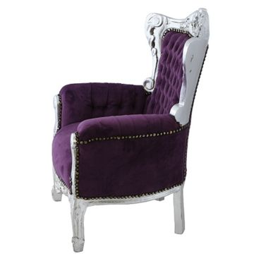 Elegant Children Throne Armchair Purple Velvet Silver Real Wood Frame – image 3