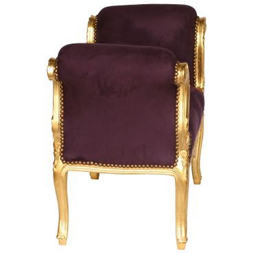 Classic Baroque Bench Purple Velvet Gold Hand Carved Wood Frame – image 3