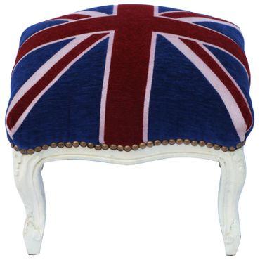 Baroque vintage nostalgic stool with velvet fabric of UK Flag with solid wood frame in beige – image 1