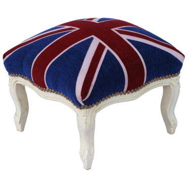 Baroque vintage nostalgic stool with velvet fabric of UK Flag with solid wood frame in beige – image 2