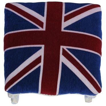 Baroque vintage nostalgic stool with velvet fabric of UK Flag with solid wood frame in beige – image 3