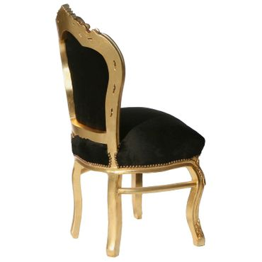 Beautiful Gold Wood Frame and Black Velvet Dining Room Chairs Set of 4 – image 3