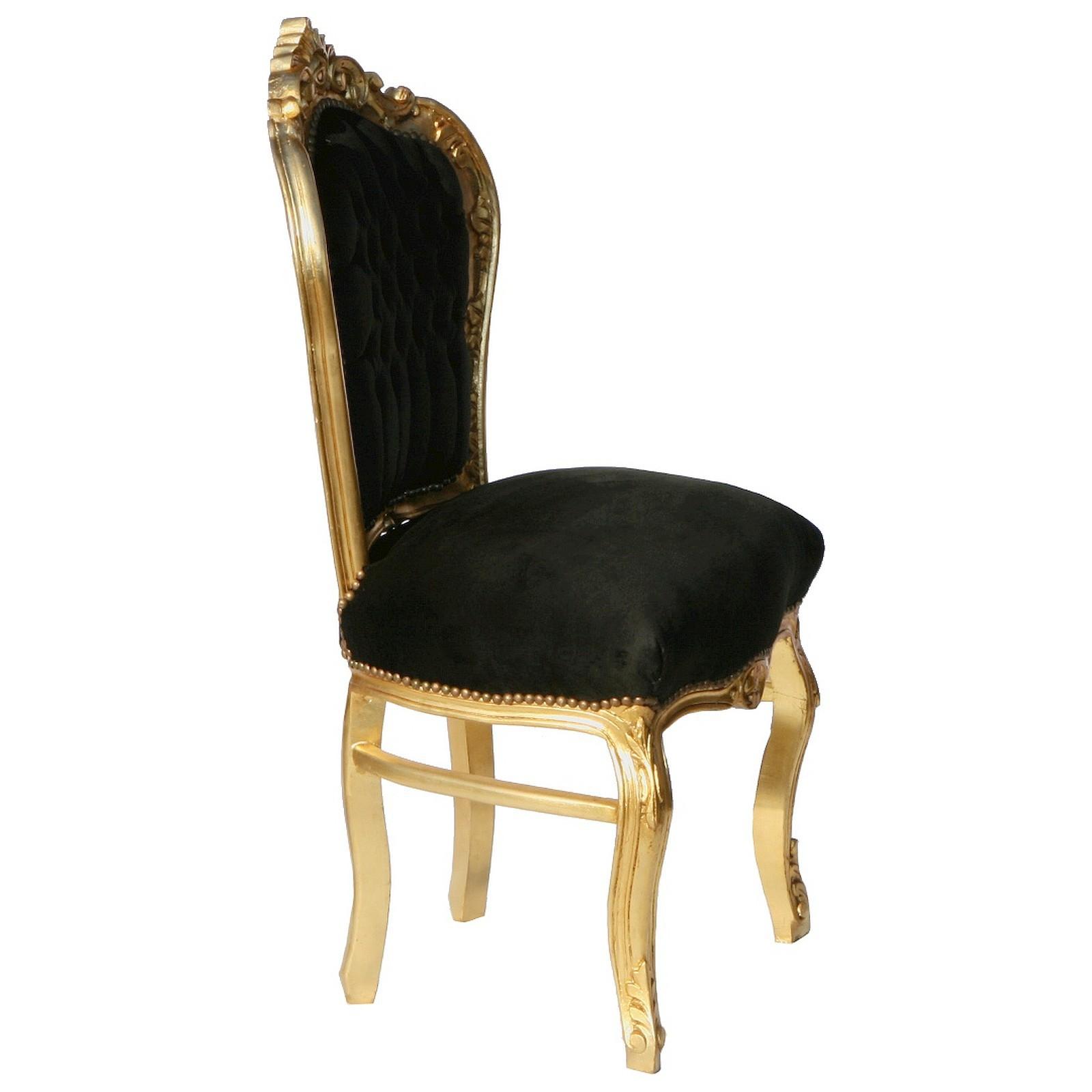 Sitzgruppe Küche schwarz vergoldetes Massivholz 6 x Stühle Set ...
