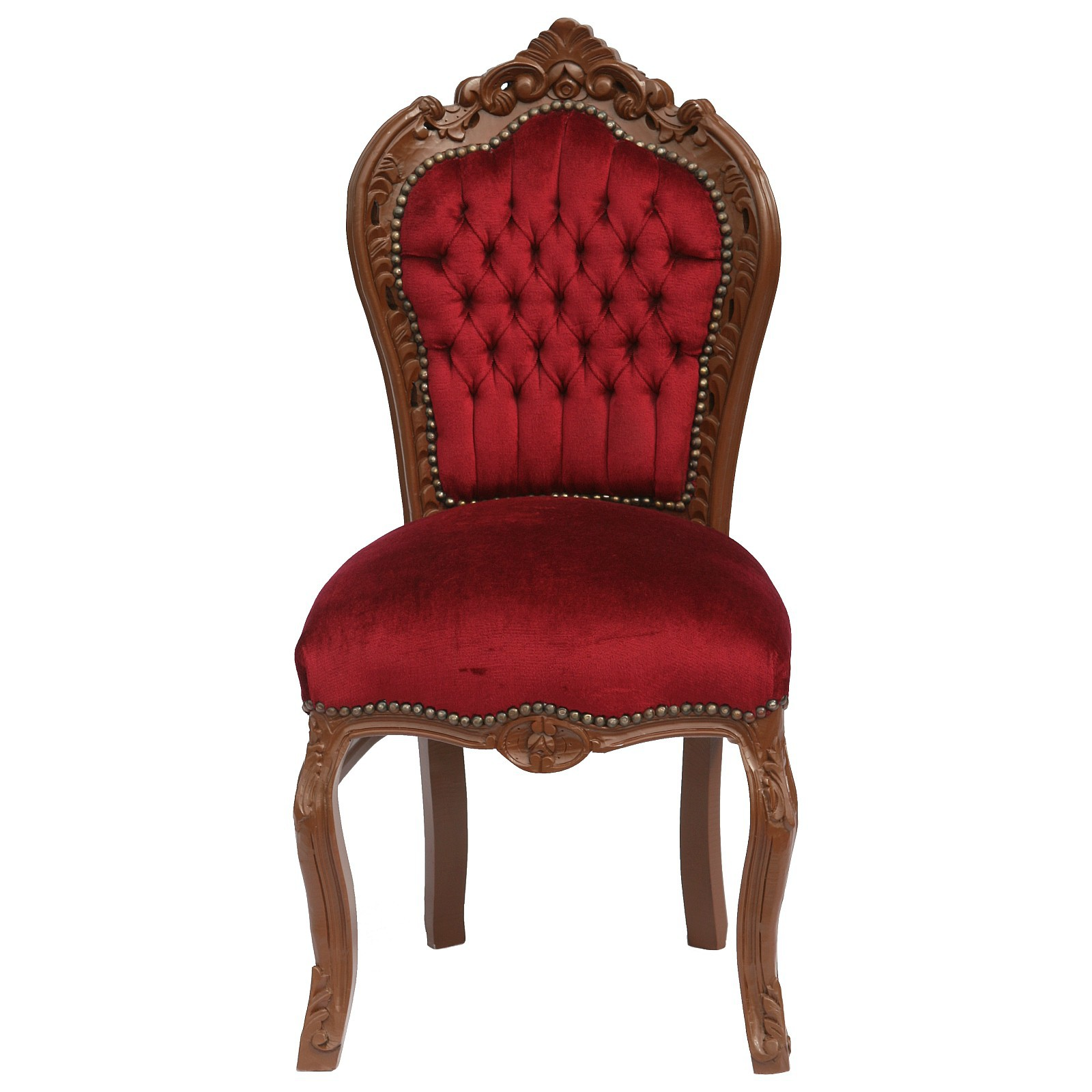 Classy Red Velvet Baroque Dining Room Chair Real Wood
