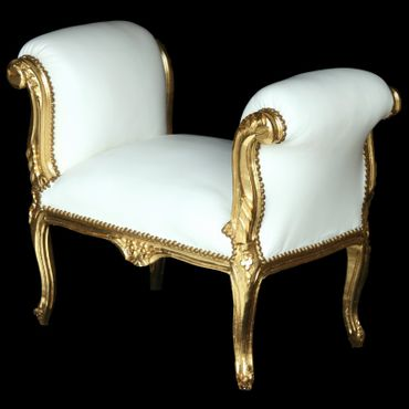 Antique Baroque style precious dining bench in white and gold  – image 2