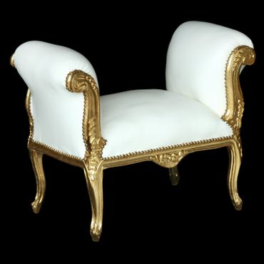 Antique Baroque style precious dining bench in white and gold  – image 4