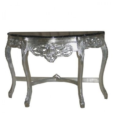 Baroque marble wooden wall console with sideboard in black and silver