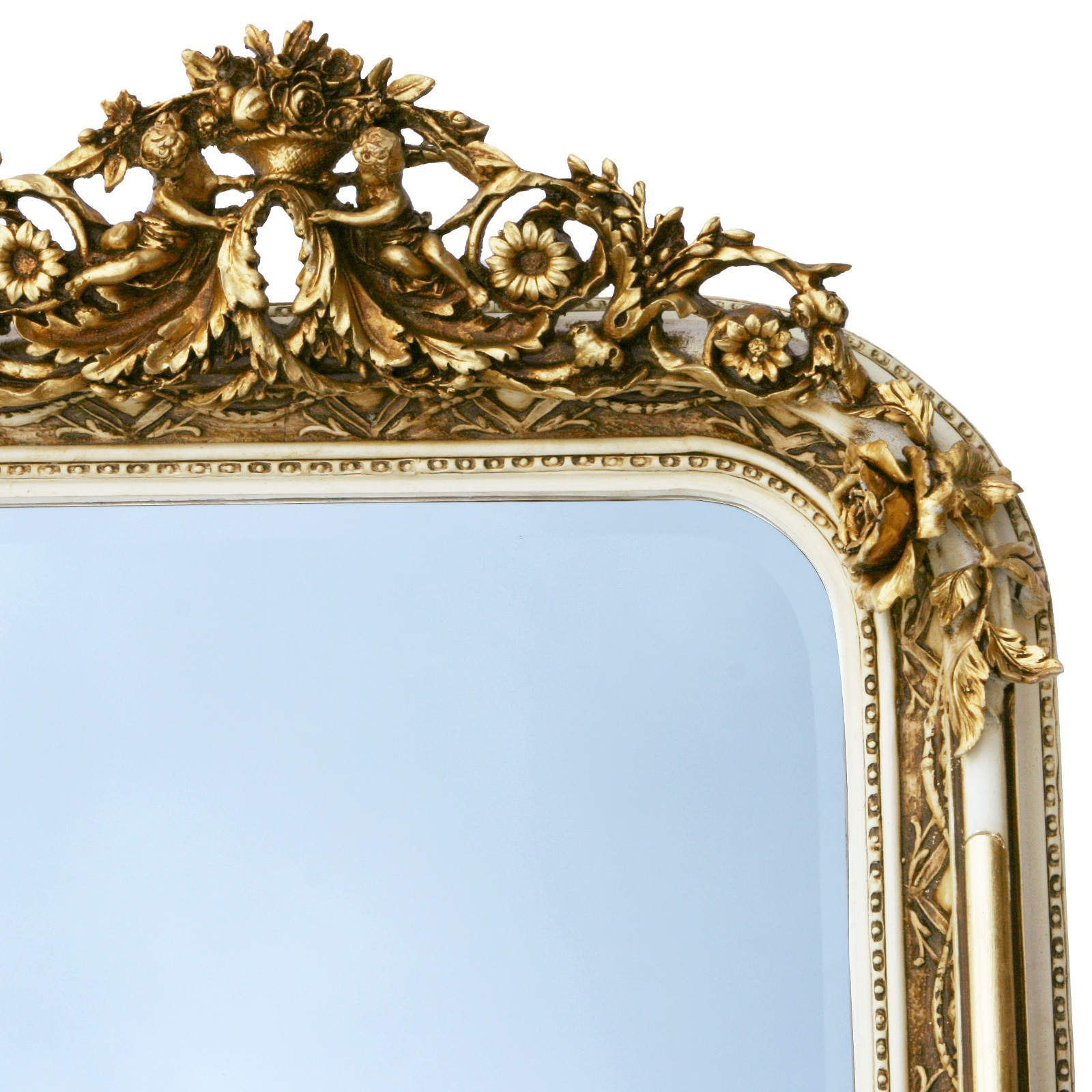 Cheval Luxurious Baroque Style Angel Vintage Wall Mirror In Gold And White 61 4 Inch X 35