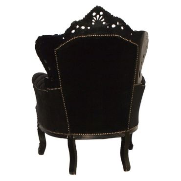 Black throne, black solid wood frame, black velvet – image 4