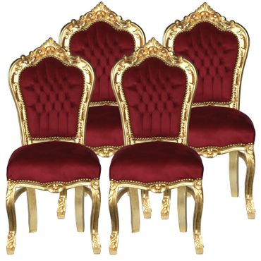 Beautiful set of 4 Golden and Red Velvet Dining Room Chair Baroque Furniture