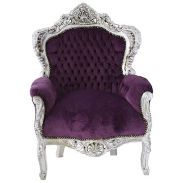 Antique throne look living Armchairs in baroque style in purple and silver for relaxing – image 1