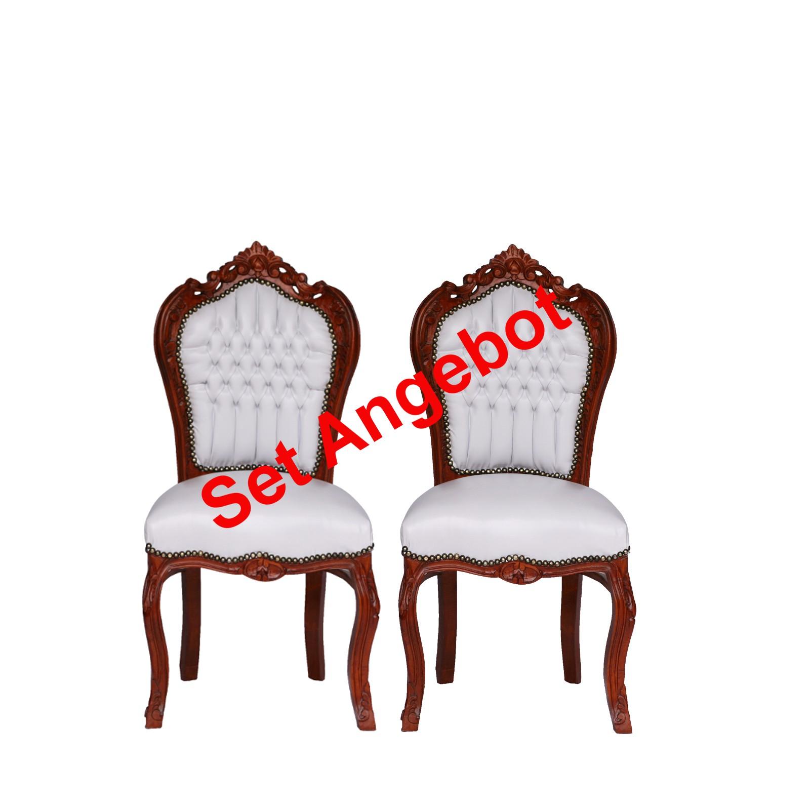 2 Stühle Polstergruppe Barockmöbel Küche ANGEBOT weiß braun Antik Stil