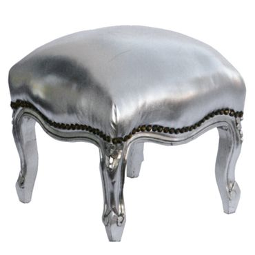 Pouffe antique style wood silver faux-leather – image 2