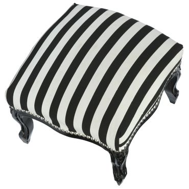 Pouffes antique style black and white stripe French – image 4
