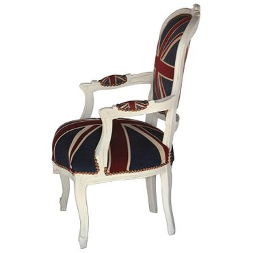 Bedroom chairs, side chair with antique-beige frame in Jack Union print  – image 3