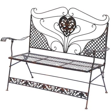 Brown Garden Bench with Heart foldable two-seater bench for terrace garden – image 2
