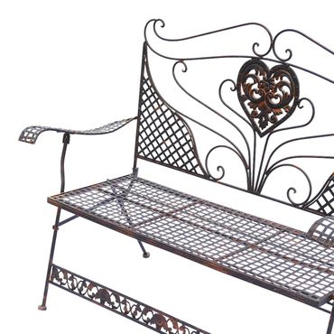 Brown Garden Bench with Heart foldable two-seater bench for terrace garden – image 4