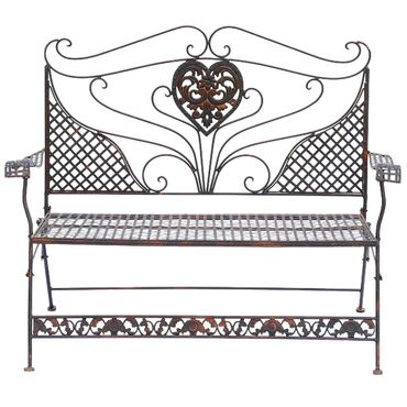Brown Garden Bench with Heart foldable two-seater bench for terrace garden – image 6