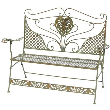 Heart shape golden folding garden bench for two people   – image 2