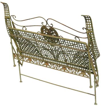 Heart shape golden folding garden bench for two people   – image 5