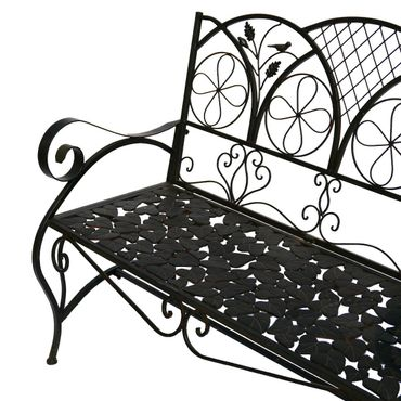 Garden bench metal bench brown 2 seater terrace garden flower pattern – image 3