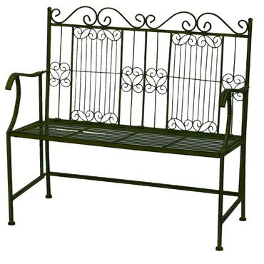 Garden metal bench in green for two people for terrace garden  – image 1