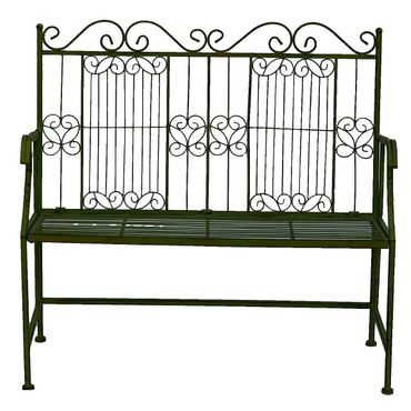 Garden metal bench in green for two people for terrace garden  – image 4
