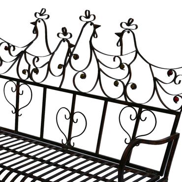 Bench Garden bench Metal brown two-seater with heart and bird motifs – image 3