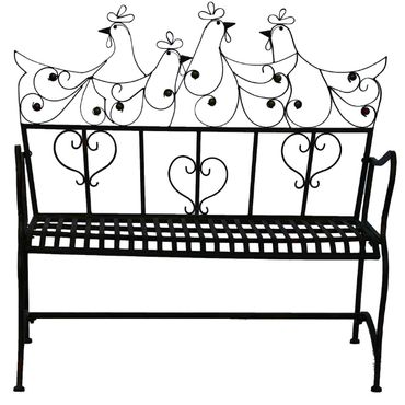 Bench Garden bench Metal brown two-seater with heart and bird motifs – image 4