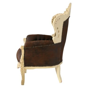 Imperial Throne Armchair Beige Wood Frame Brown Leatherette Cushioning  – image 3