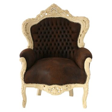 Imperial Throne Armchair Beige Wood Frame Brown Leatherette Cushioning  – image 1