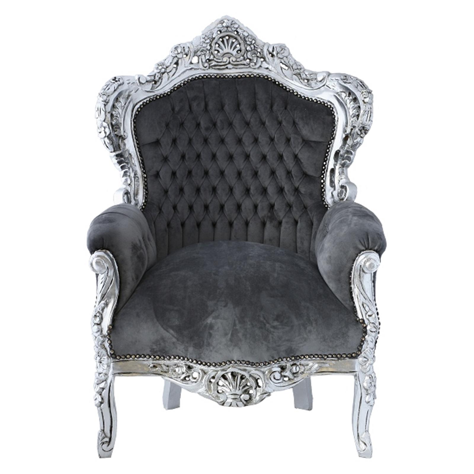 sessel klassiker in grau und silber barocksessel antik. Black Bedroom Furniture Sets. Home Design Ideas