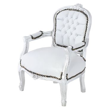 Snow White Leatherette Children Armchair Silver Wood – image 2