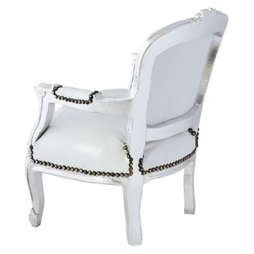 Snow White Leatherette Children Armchair Silver Wood – image 4