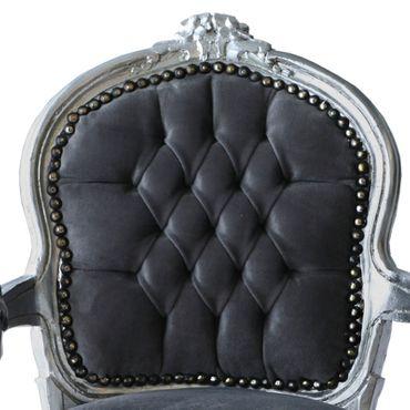 Child Salon Chair with Armrest Silver Wood Frame Grey Velvet Cushioning – image 5