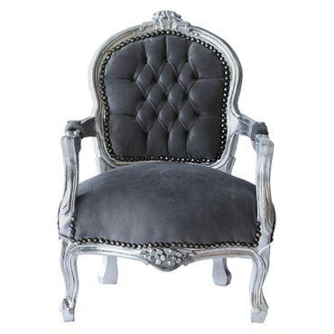 Child Salon Chair with Armrest Silver Wood Frame Grey Velvet Cushioning – image 1