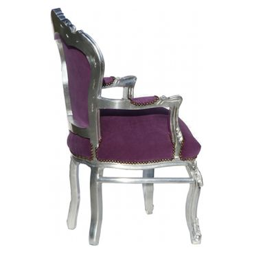 Noble chair in purple fabric with silver-leafed wooden frame – image 2