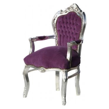 Noble chair in purple fabric with silver-leafed wooden frame – image 4