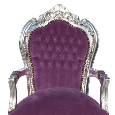 Noble chair in purple fabric with silver-leafed wooden frame – image 5