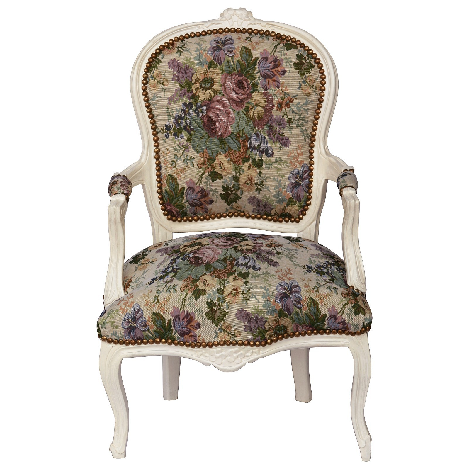 Gentil Magnificent Flowery Baroque Armchair With Solid Beige Wood Frame 001