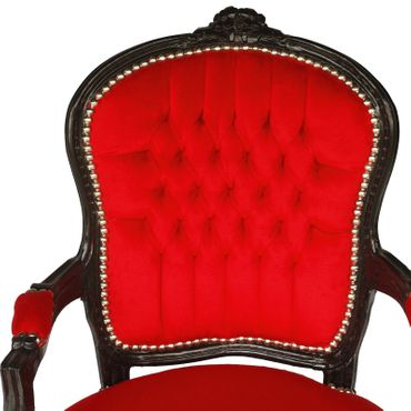 Baroque Armchair with Red Velvet and Black Solid Wood Frame – image 5