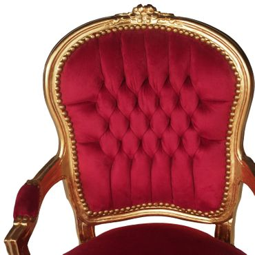 Red dining chairs armchair with gold-leafed wood frame – image 5