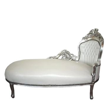 Superb White Leatherette Chaise-Longue Baroque Design Silver Wood Frame