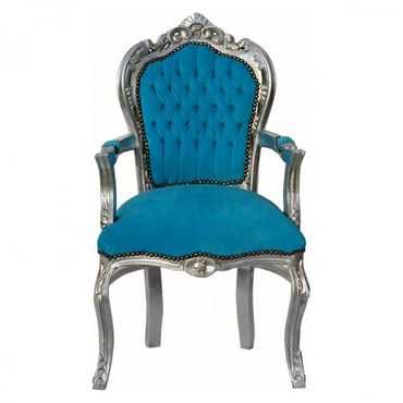 Noble chair in aqua blue fabric with silver-leafed wooden frame – image 1