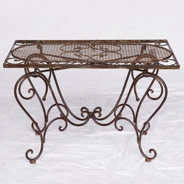 Brown garden metal tables as coffee table for outdoor furniture in courtyard and balcony