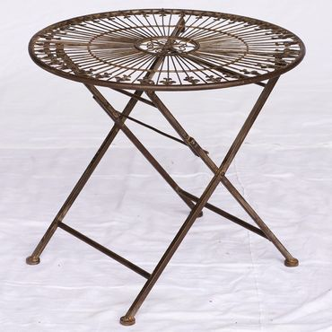 Children's single metal folding round brown antique table for Balcony terrace Garden